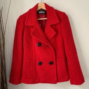 Marvin Richards Pea Coat Red Women's Small
